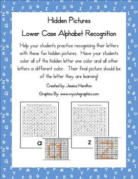 Hidden Pictures for Lower Case Alphabet Recognition