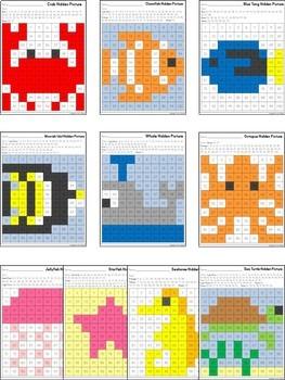 Hidden Pictures in a 100's Chart ~ Ocean Animals