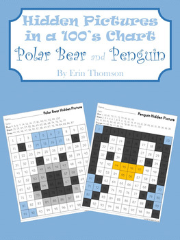 Hidden Pictures in a 100's Chart ~ Polar Bear and Penguin