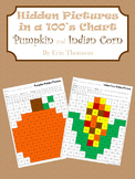 Hidden Pictures in a 100's Chart ~ Pumpkin and Indian Corn