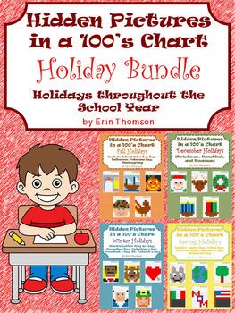 Hidden Pictures in a 100's Chart ~ Holiday Bundle