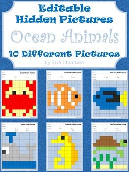 Editable Hidden Pictures ~ Ocean Animals