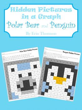 Hidden Pictures in a Graph ~ Polar Bear and Penguin