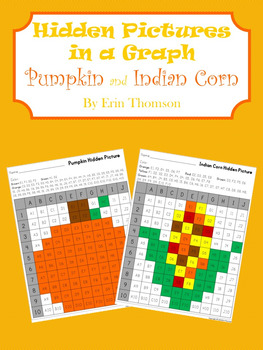 Hidden Pictures in a Graph ~ Pumpkin and Indian Corn