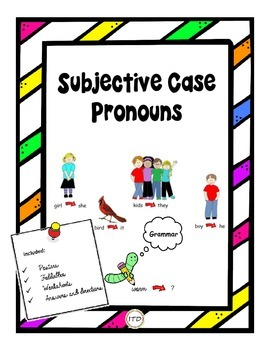PDF Grammar Subjective Case Pronouns Posters and Worksheet