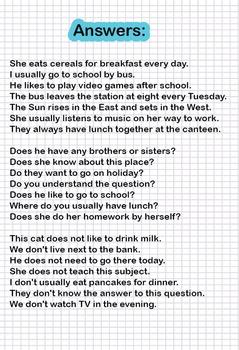 Hidden Sentences - Practice the Present Simple Tense (21 worksheets)