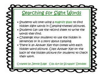Hidden Sight Word Pictures