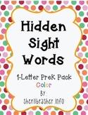 Hidden Sight Words:  1-Letter PreK Pack in Color