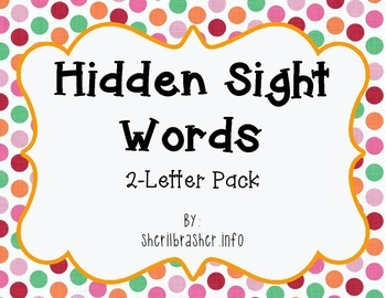 Hidden Sight Words:  2-Letter PreK Pack