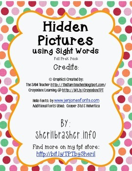 Hidden Sight Words: Fall Picture Sampler PreK Pack