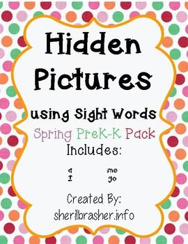 Hidden Sight Words: Spring Picture PreK-K Pack