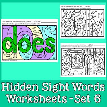 Hidden Sight Words Worksheets:  Sing & Spell Vol. 6