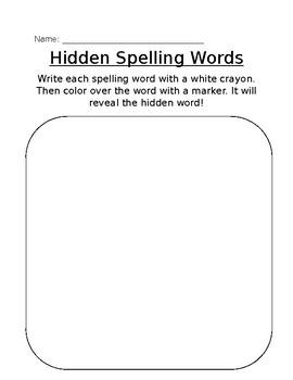 Hidden Spelling Words
