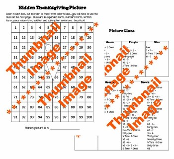 Hidden Thanksgiving Picture - Math Activity