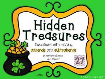 Hidden Treasures Missing addends and subtrahends CCSS 1.OA.D.8