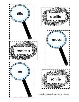 Hidden Words Matching Game - Spanish