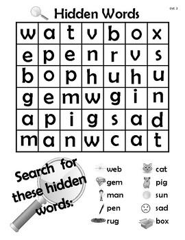 Hidden Words Practice Pages