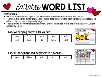 Hidden Words: Valentine's Day I Spy Sight Words - Editable
