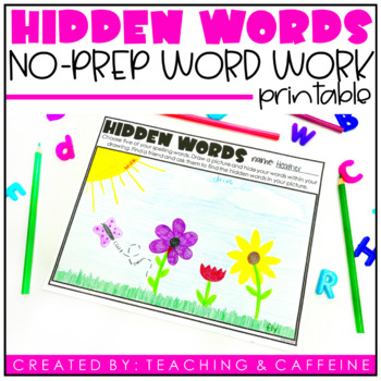 Hidden Words Word Work Activity