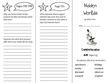 Hidden Worlds Trifold - Treasures 5th Grade Unit 6 Week 5