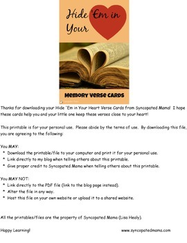 Hide 'Em in Your Heart Vol 1 Memory Verse Cards