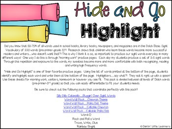 Hide and Go Highlight...A Sight Word Practice Pack