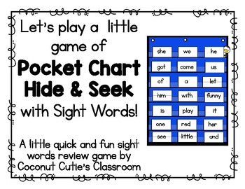 Hide and Seek Pocket Chart Game {Dolch Sight Words}