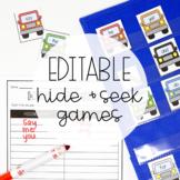 Hide and Seek Pocket Chart Games - EDITABLE
