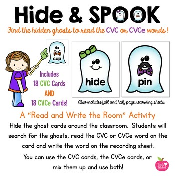 Hide and Spook!  A CVC and CVCe Read and Write The Room Activity