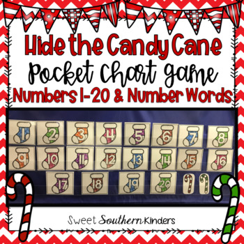 Hide the Candy Cane Pocket Chart Game Numbers 1-20 and Number Words