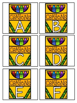 Hide the Crayons Pocket Chart Game Alphabet Upper/Lowercase : Back to School