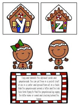 Hide the Gingerbread Pocket Chart Game Alphabet Upper/Lowercase
