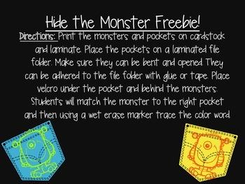 Hide the Monster! Color Freebie