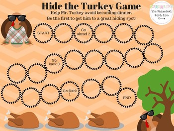 FREEBIE Hide the Turkey Open-Ended Board Game Teletherapy Thanksgiving