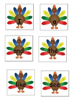 Hide the Turkey Sight Word Game
