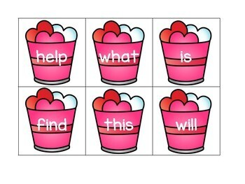 Hide the Valentine a Sight Word and Number Recognition Game