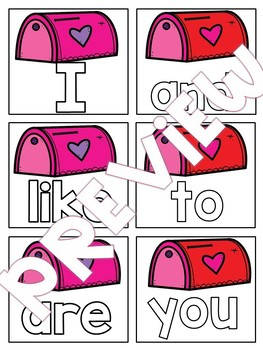 Hide the Valentines Pocket Chart Game Sight Word Edition *Editable*