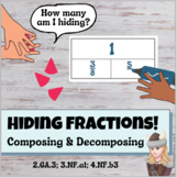 Hiding Fractions Game Hands On Decomposing Center 2.GA.3;  3.NF.A1;  4.NF.B3