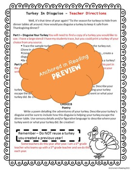 Hiding Turkey - Turkey in Disguise Writing and Creative Project
