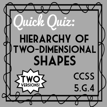 Hierarchy of Two-Dimensional Shapes, 5.G.4 Assessment, Includes 2 Versions!
