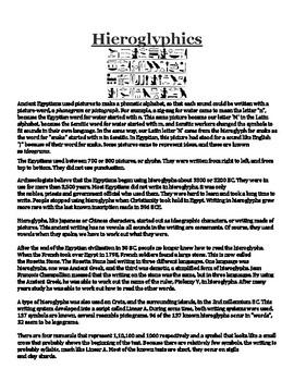 Hieroglyphics Handout