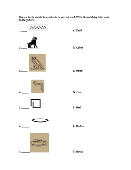 Hieroglyphics Matching Worksheet