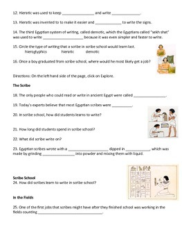 Hieroglyphics, Scribes, & Writing in Egypt: Activities & Foldable Project
