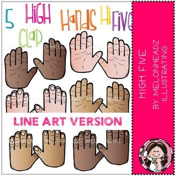High 5 clip art - LINE ART - Melonheadz clipart