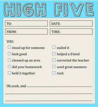 """High 5"" Notes For Students"