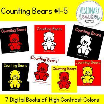 High Contrast CVI Counting Bears Numbers 1-5 (SET OF 7)