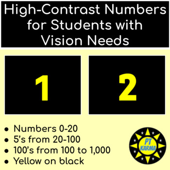 High Contrast Numbers for Students with Vision Needs (Yellow)