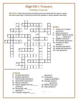 High Elk's Treasure: Synonym/Antonym Vocabulary Crossword