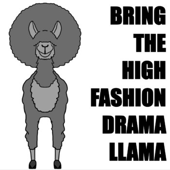 High Fashion Drama Llama Clip Art