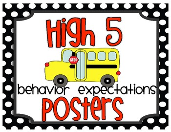 High Five -  Behavior Expectation Posters